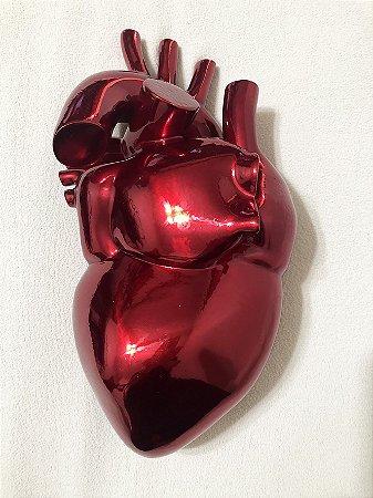 ESCULTURA EM ALUMÍNIO   VERMELHO METÁLICO HEART