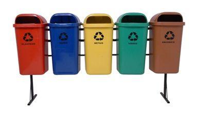 Conjunto de coleta Seletiva 5 Cestos Plasticos 50 litros - Cód. L360