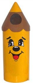 Lixeira em Fibra de Vidro formato lápis pequeno Modelo Carinha - Cód. 1073