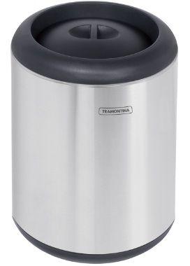 Lixeira em aço inox com aro e tampa em polipropileno 10 litros Tramontina