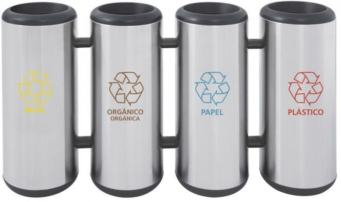 Conjunto de Lixeiras em aço inox sem tampa 31 litros – Tramontina