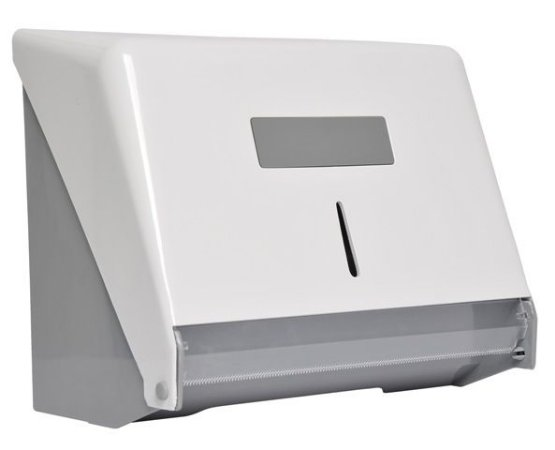 Porta papel bobina injetado com a frente em plástico ABS branco