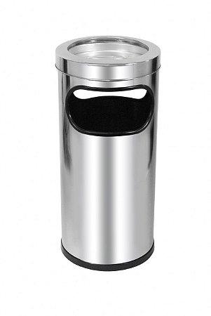 Cinzeiro lixeira em aço inox  22 litros