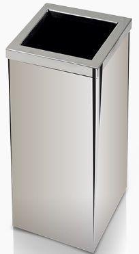 Lixeira de Inox quadrada com tampa Aro 100 litros - Cód. QI6
