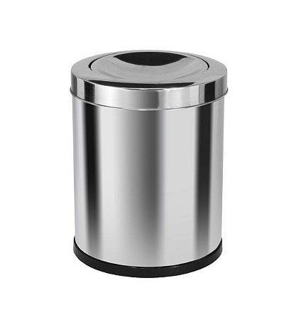 Cesto de lixo Em Inox com tampa meia esfera 13,5 Litros - Cód. E4