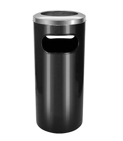 Cinzeiro lixeira plástico com aro em aço inox 50 litros