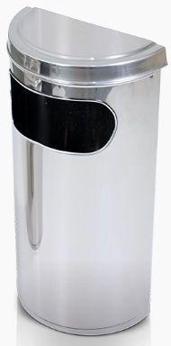 Lixeira com aro meia lua com tampa fechada  e abertura lateral em aço inox 20 litros - Cód. 1624E