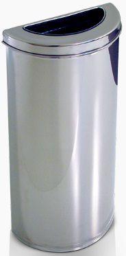 Cesto meia-lua em Aço Inox com semi aro em Inox 40 litros