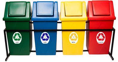 Conjunto para coleta seletiva com 04 cestos quadrados com tampa vai e vem 65 Litros - Cod. T465
