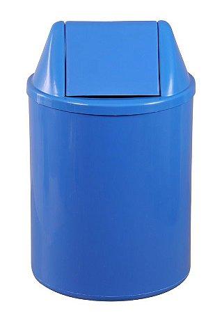 Cesto plástico redondo com tampa vai e vem 15 Litros - Azul