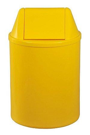 Cesto plástico redondo com tampa vai e vem 15 Litros - Amarelo
