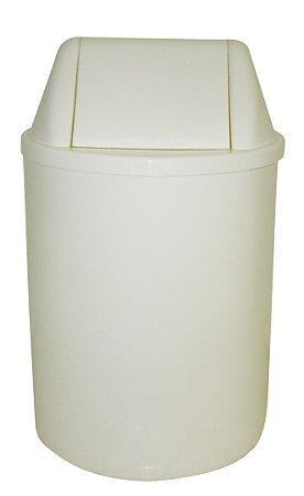 Cesto plástico redondo com tampa vai e vem 15 Litros - Branco