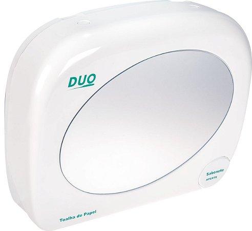 Dispenser plástico de parede para papel toalha e sabonete líquido, sem espelho.