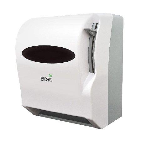 Dispenser plástico de papel toalha em bobina com alavanca e corte manual do papel