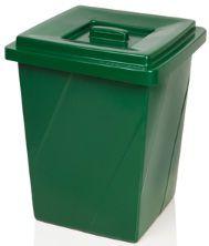 Cesto plástico Quadrada com tampa sobreposta 52 litros