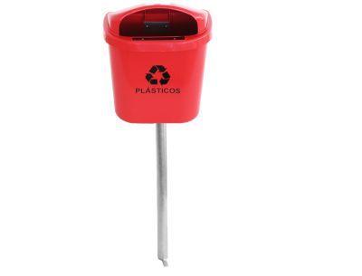 Lixeira individual para coleta seletiva com poste 40 litros