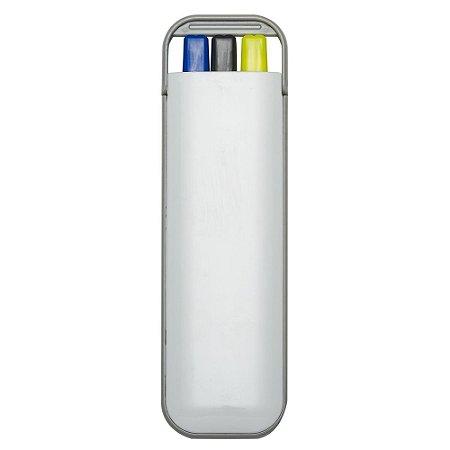 Kit 3 em 1 branco em plástico resistente. Possui: caneta  carga azul. Código 3001 Three