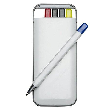 Kit 5 em 1 branco em plástico resistente. Possui: caneta/ carga azul, Código 3001-Five