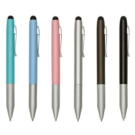 Mini caneta fosca semi-metal colorida, detalhes em prata com borracha. Código SK 13422