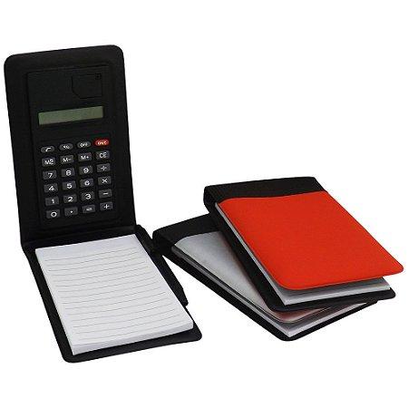 Calculadora com bloco de anotações de couro sintético.  Código SK12521