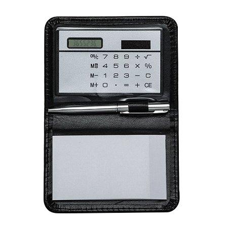 Calculadora com bloco de anotações couro sintético  suporte plástico. Código: SK7559