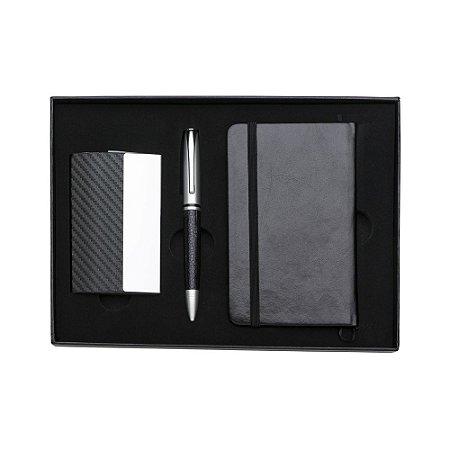 Kit executivo 3 peças em estojo de papelão com tampa . Código SK 998