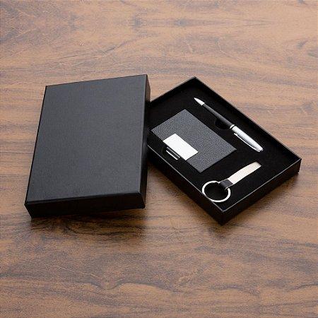 Kit executivo 3 peças em estojo de papelão chaveiro metal fosco.CÓD.SK1988