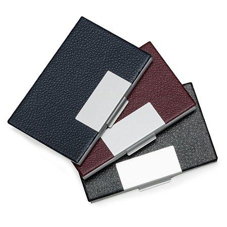 Porta cartão em couro sintético com detalhes em prata. Código SK 4480
