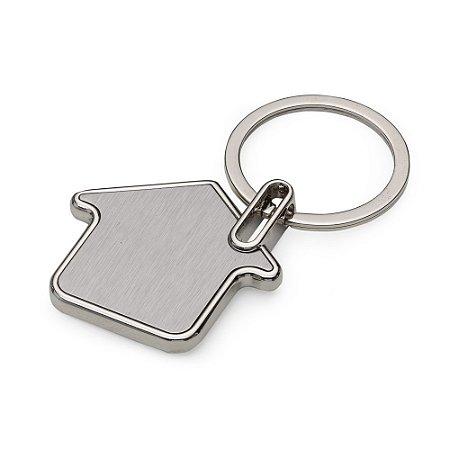 Chaveiro metal formato casa com chapa inox frente e verso lisa. Código: SK 12691