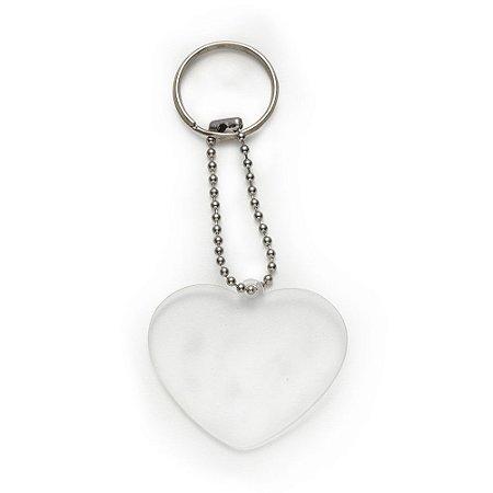 Chaveiro plástico formato coração transparente. Código SK 13275