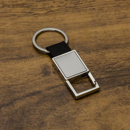 Chaveiro metal mosquetão(sem trava) com alça de couro sintético. Código: SK 12965