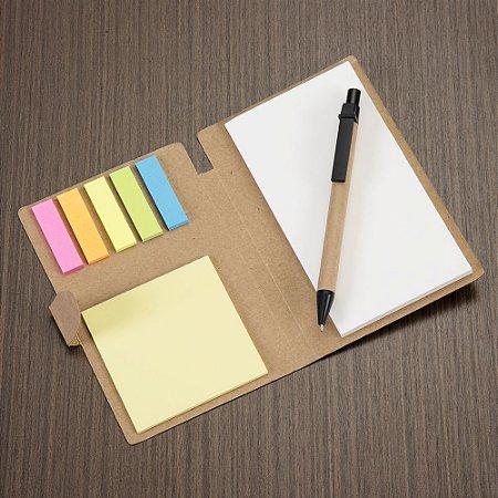Bloco de anotações ecológico material em kraft e com post-it e caneta. Código: SK 11911