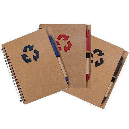 Bloco de anotações ecológico com caneta. Capa com símbolo reciclado.Código: SK 12242