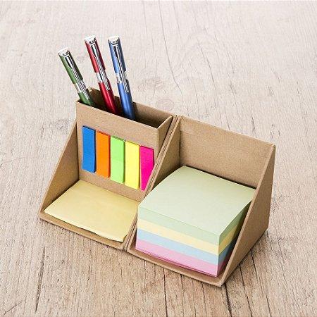 Bloco de anotações com post-it formato cubo, abre e fecha em diagonal.Código SK12516