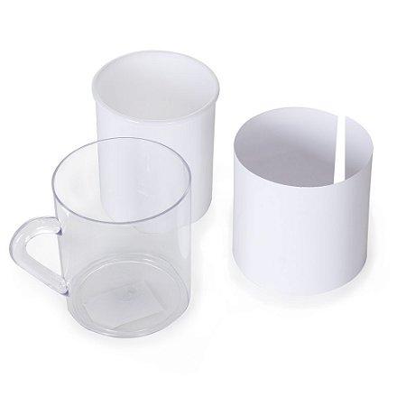 Caneca acrílica 350ml porta foto, copo interno branco de plástico. Código S 13340