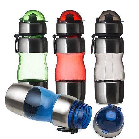 Squeeze inox 450ml com alça plástica e detalhes coloridos, para Brinde. Código SK 12190