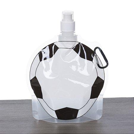 Squeeze dobrável 750ml fomarto bola de futebol. Frente estampada bola. Código SK 12584