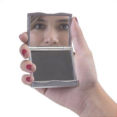 Espelho retangular duplo sem aumento, material em plástico. Código SK 12069