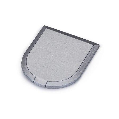 Espelho duplo plástico em formato escudo, sem aumento.Brinde ideal. Código SK 4253