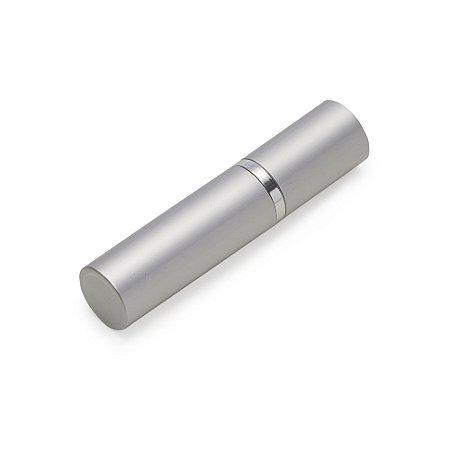Porta perfume 5ml prata de metal, frasco(acrílico) pode ser removido. Código SK 7067