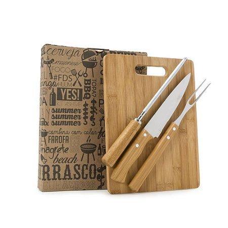 Kit churrasco 4 peças em madeira. Contém amolador de faca. SK 13312