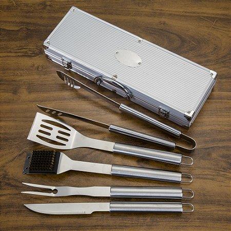 Kit churrasco 5 peças em maleta de alumínio com relevo. SK 1645