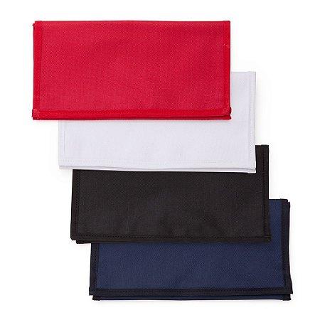 Necessaire de nylon inteira colorida com 3 divisórias.