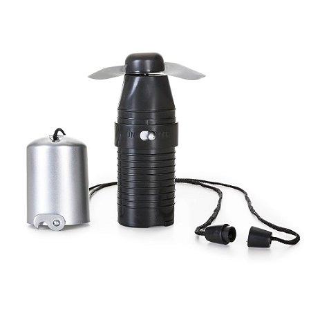 Mini ventilador plástico de mão, base preta. Cód. SK10105