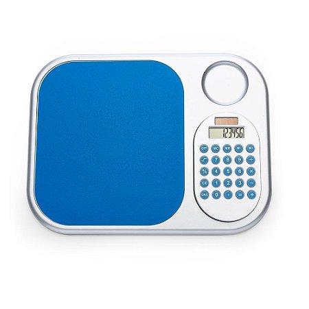 Mouse pad com calculadora plástica. Material plástico prata. Cód. 12185