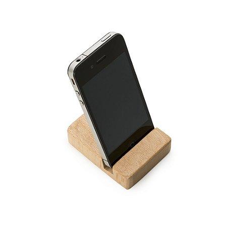 Base de madeira para celular, frente e verso liso. Cód. SK13382