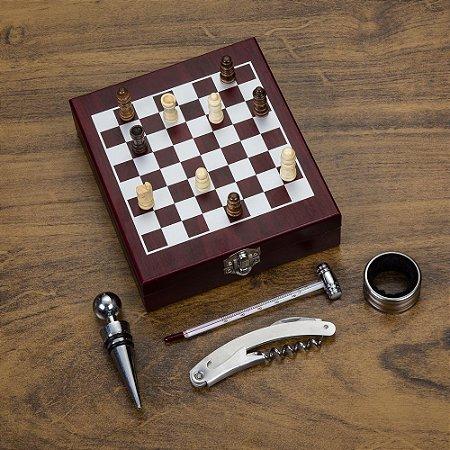 Kit vinho xadrez com 4 peças. Cod. SK 13121