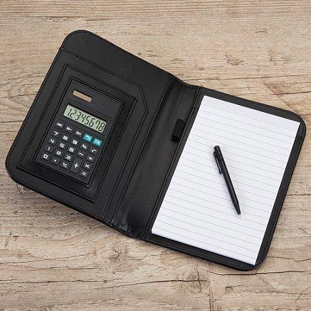 bloco de anotações com calculadora e caneta. Cód. SK 1610