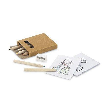 Kit para pintar em caixa de cartão. Incluso 6 lápis de cor, 1 apontador e 15 cartões para pintar. Cód.SPCG91758