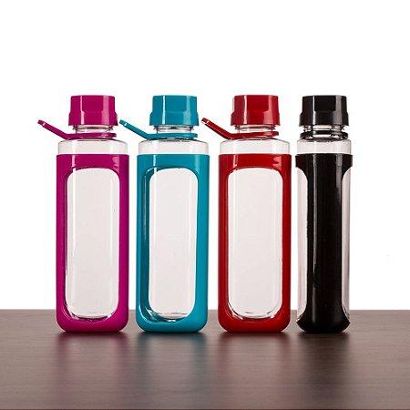 Squeeze plástico 650ml transparente com detalhes coloridos. SK13765